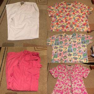 SCRUBS 5 piece set. 2 scrub pants & 3 Scrub Shirts